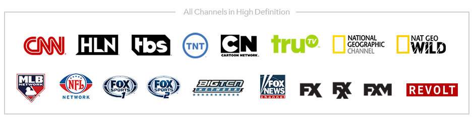 All of Boingo TV's available channels: CNN, HLN, tbs, TNT, Cartoon Network, TruTV, National Geographic, Nat Geo Wild, MLB Network, NFL Network, Fox Sports 1 &2, Big Ten Network, Fox News, FX, FXX, FXM,  Revolt