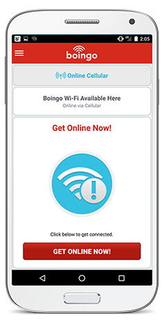 Boingo Wi-Finder app on Android