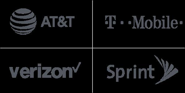 AT&T, T-Mobile, Verizon, Sprint logos